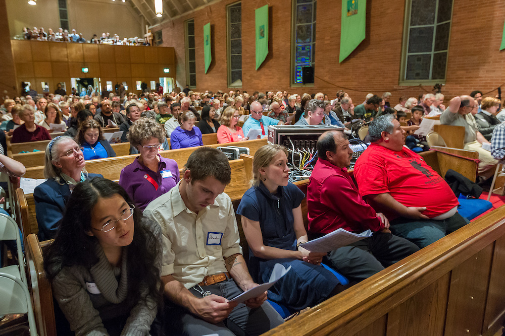 Community members and faith leaders filled Augustana Lutheran Church in Portland, Ore., for the